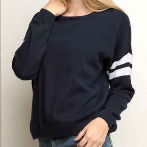 Brandy Melville Veena Navy Blue Crew Neck Sweater